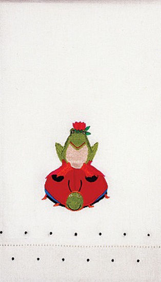 Frog On Ladybug Tea Towel by Patience Brewster