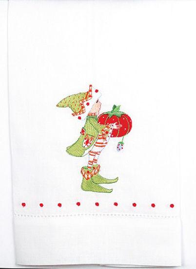 Prancer's Elf Tea Towel by Patience Brewster