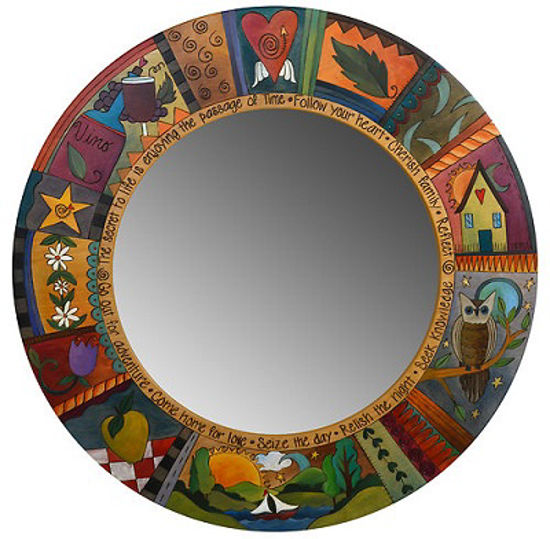 Passage of Time Large Wood Circle Mirror by Sticks