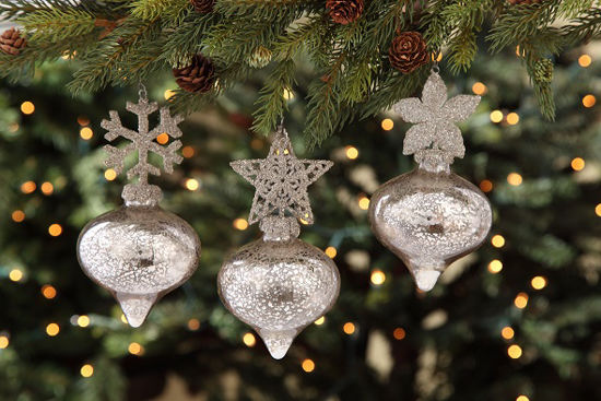 Glass Glittered Top Ornament Set by Bethany Lowe Designs