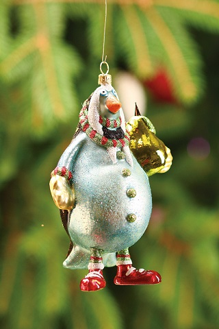 Partridge With Pear Glass Ornament by Patience Brewster