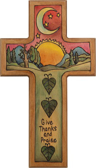Give Thanks and Praise Wood Cross Plaque by Sticks