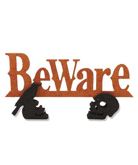 'Beware' Black Glittered Cutout by Bethany Lowe Designs