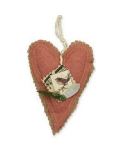 Songbird Heart Ornament, Pink by Bethany Lowe Designs