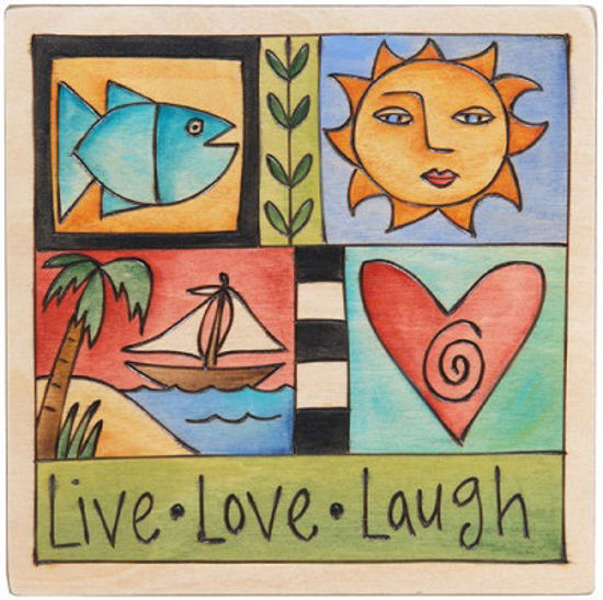 Live, Love, Laugh Small Wood Plaque by Sticks
