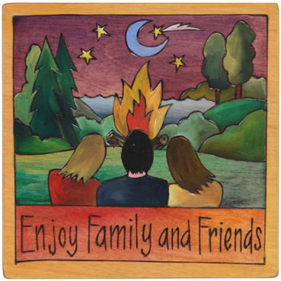 Enjoy Family and Friends Small Wood Plaque by Sticks