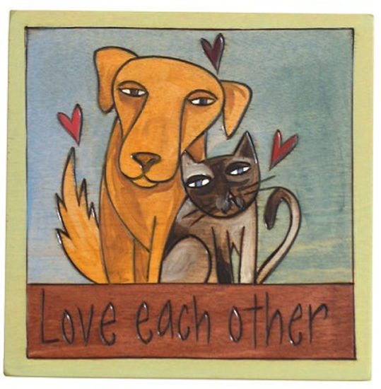 Love Each Other, Dog and Cat Small Wood Plaque by Sticks