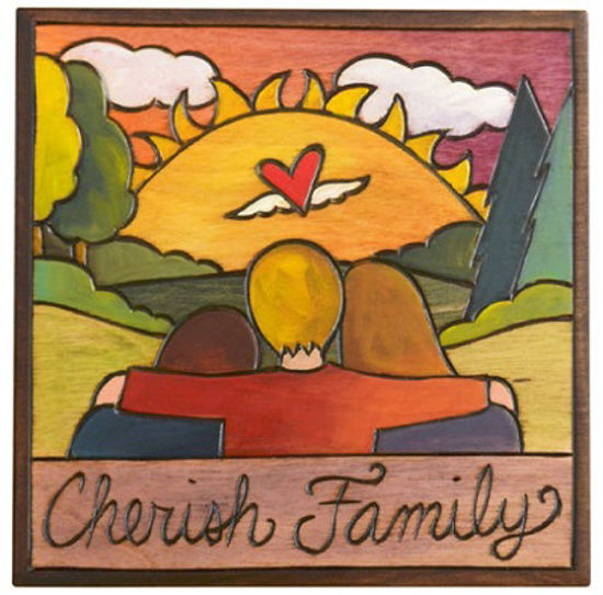 Cherish Family Small Wood Plaque by Sticks