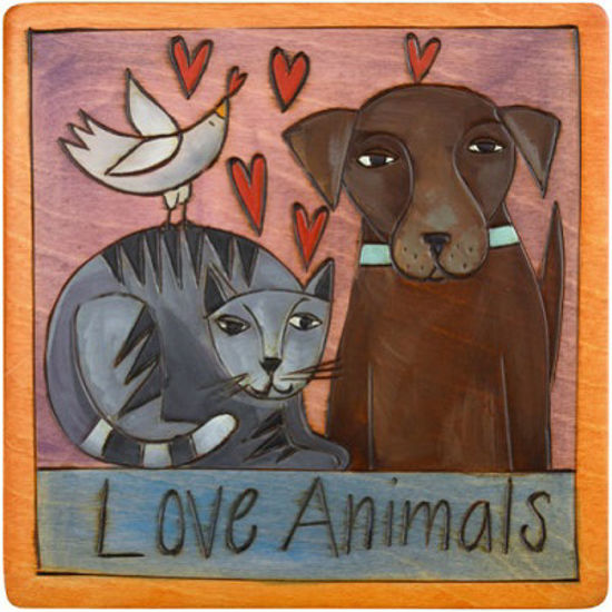 Love Animals, Cat and Dog Small Wood Plaque by Sticks