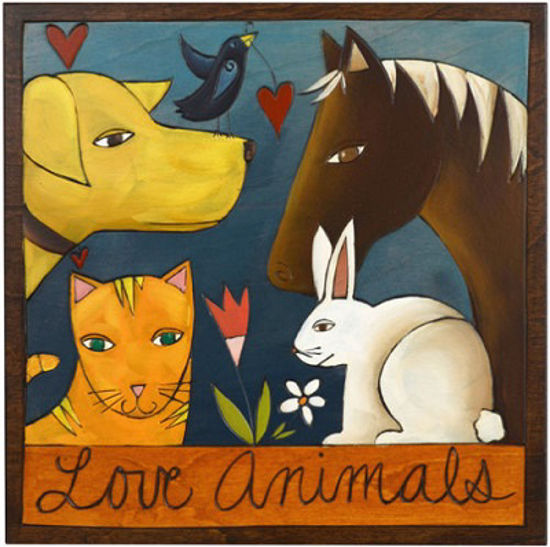 Love Animals Small Wood Plaque by Sticks