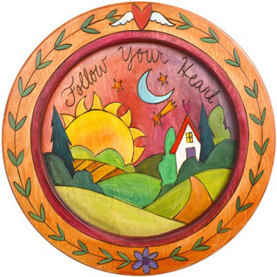 Follow Your Heart Wood Round Tray 16' diameter by Sticks