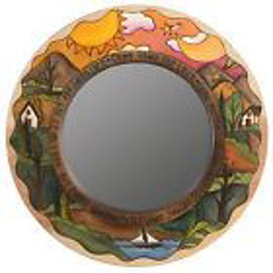 "Sticks Furniture - Small Wood Circle Mirror 21"" Diameter"