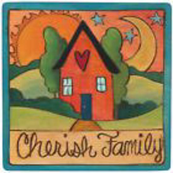 Cherish Family Wood Square Plaque by Sticks