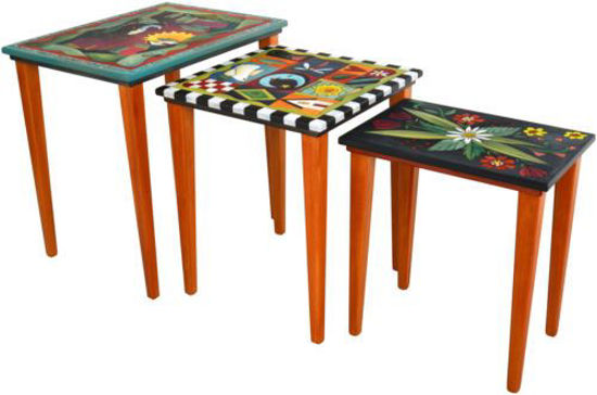Wood Set of Three Nesting Tables by Sicks