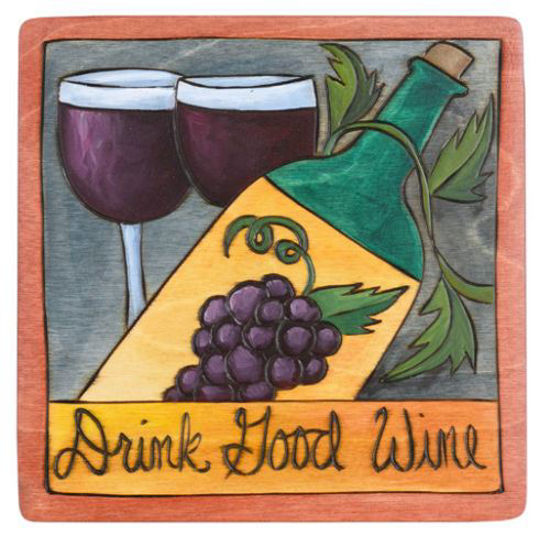 Drink Good Wine Wood Square Plaque