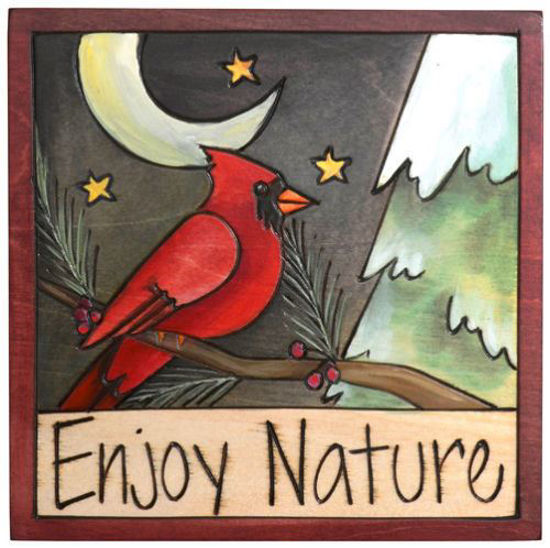 Enjoy Nature Wood Square Plaque by Sticks