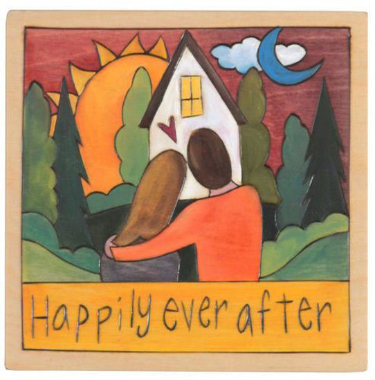 Happily Ever After Wood Square Plaque by Sticks