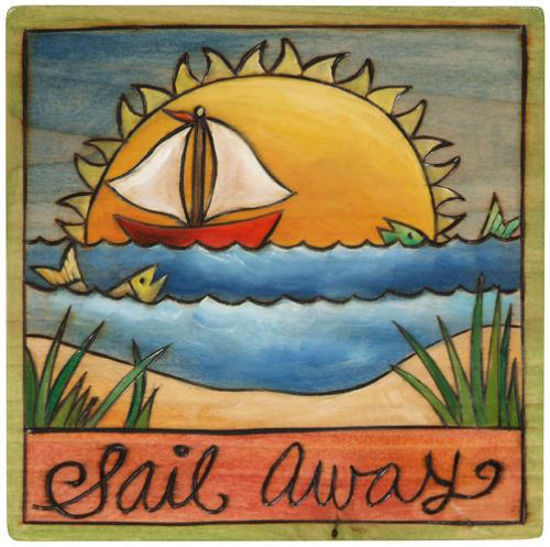 Sail Away Wood Square Plaque by Sticks