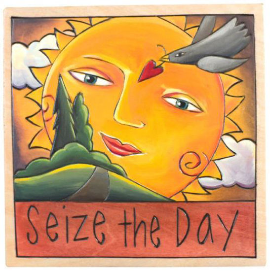 Seize the Day Wood Square Plaque by Sticks