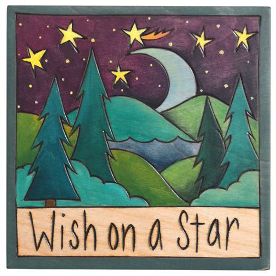 Wish on a Star Wood Square Plaque by Sticks