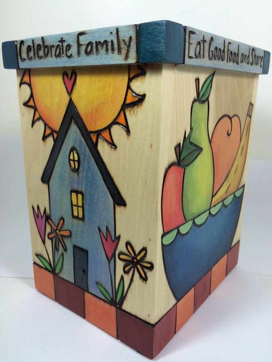 Small Wood Box Vase by Sticks