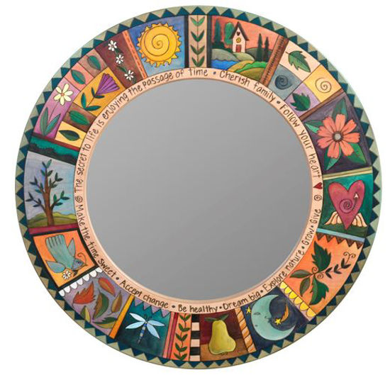 Large Wood Circle Mirror by Sticks