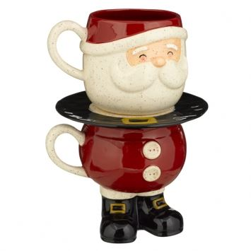 Stacked Santa Milk & Cookie Plate Gift Set by Grasslands Road