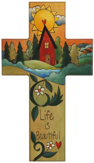 Life is Beautiful Wood Cross Plaque by Sticks