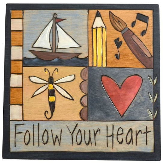 Follow Your Heart Wood Plaque by Sticks