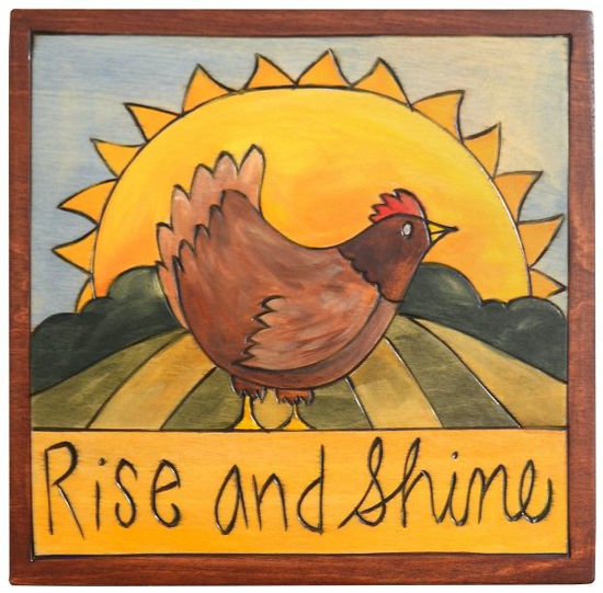 Rise and Shine Small Wood Plaque by Sticks