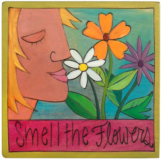 Smell The Roses Small Wood Plaque by Sticks