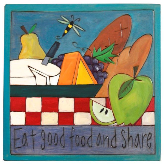 Eat Good Food Small Wood Plaque by Sticks