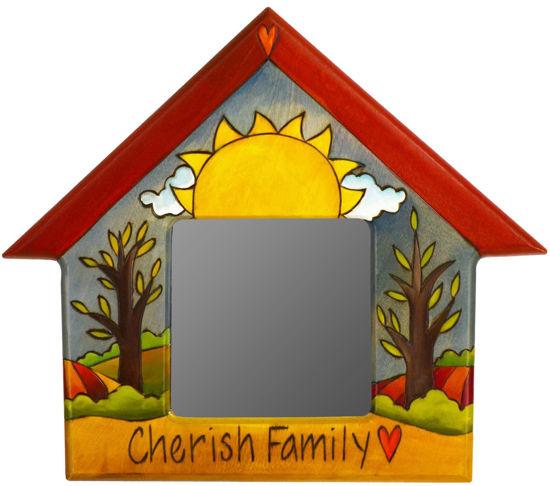 Cherish Family Home Shaped Mirror by Sticks