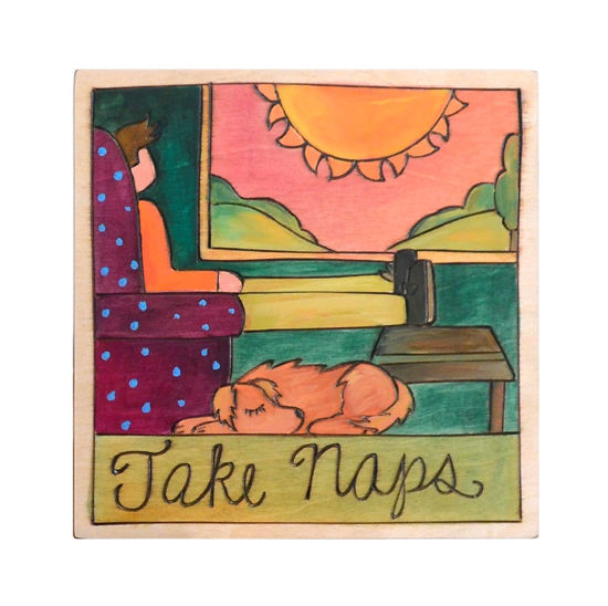 Take Naps Small Wood Plaque by Sticks