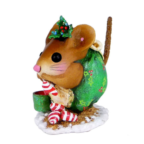 Christmas Nibble Nut Mouse NM-1a Green by Wee Forest Folk®