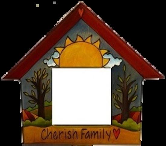 Cherish Family Small Wood House Shaped Mirror by Sticks