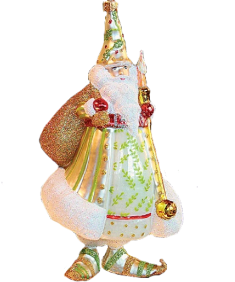 Candlelight Santa, White Coat Glass Ornament by Patience Brewster