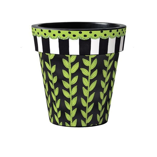 "Leaf Vine Stripe 15"" Art Pot by Studio M"