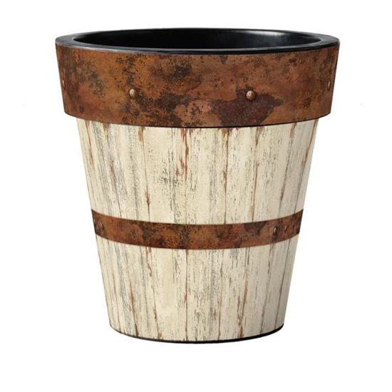 "Whitewash Wood 18"" Art Pot by Studio M"