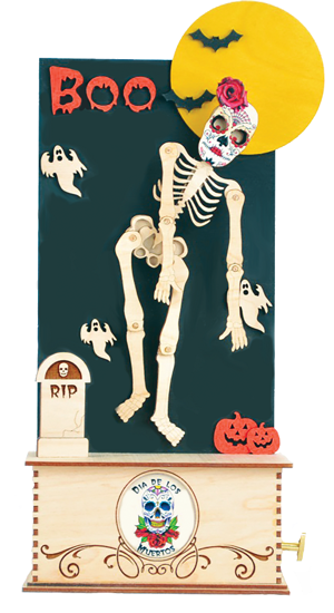 Dancing Skeleton Day of the Dead Music Box by Ginger Cottages