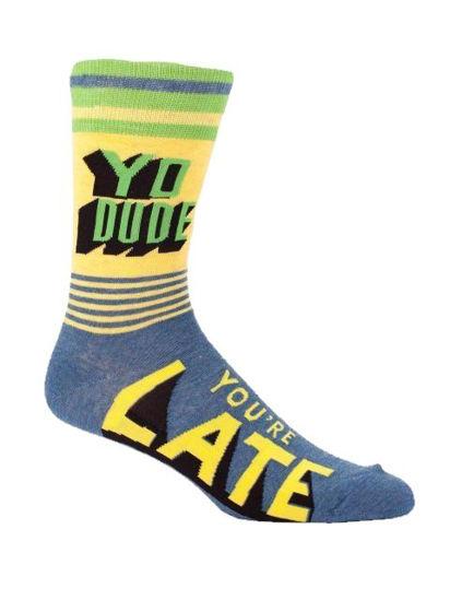 Yo Dude, You're Late! Men's Crew Socks by Blue Q