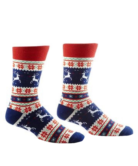 Reindeer & Poinsettia Men's Crew Socks by Yo Sox