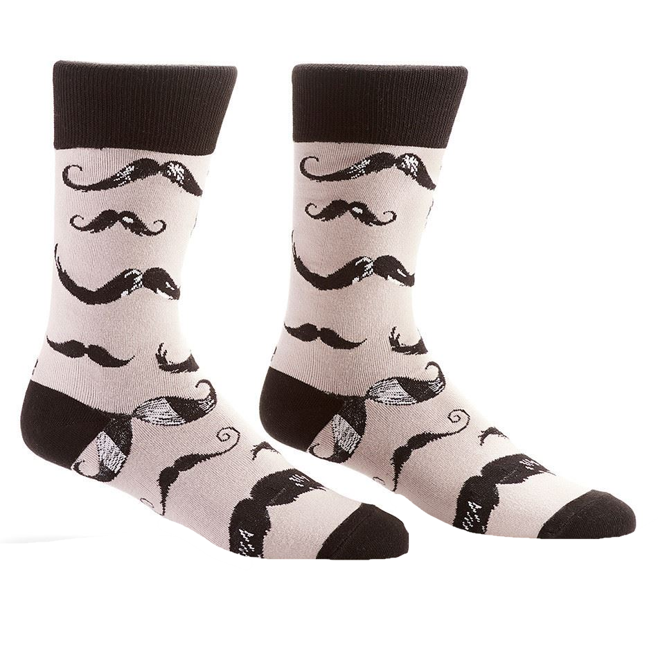 Sophisticated Mustache Men's Crew Socks by Yo Sox