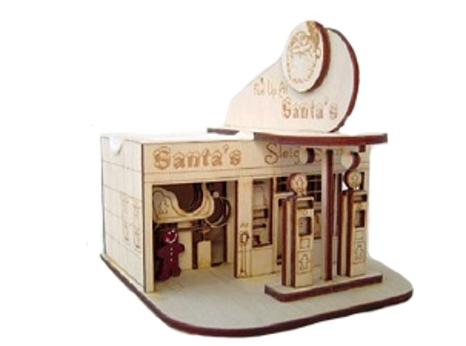Santa's Sleigh Station Ornament by Ginger Cottages