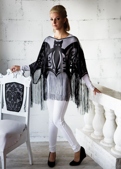 Bats! Fringe Poncho by Heritage Lace