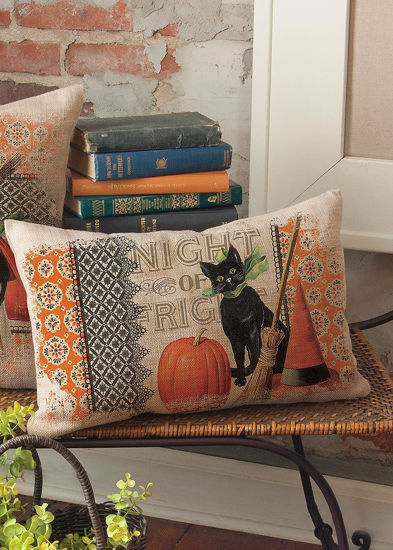 Victorian Halloween Cat Pillow by Heritage Lace