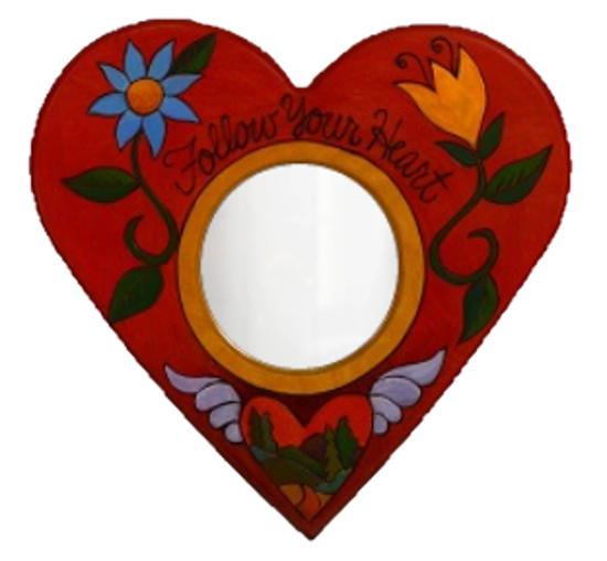 Follow Your Heart Small Wood Heart Shaped Mirror by Sticks