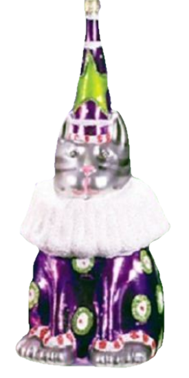 Gray Party Hat Cat Glass Ornament by Patience Brewster