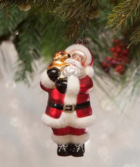 Santa's Puppy Love Glass Ornament by Bethany Lowe Designs