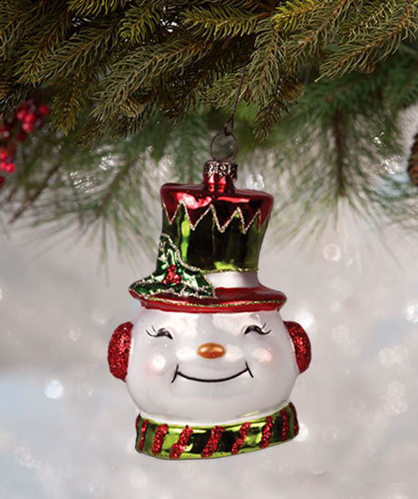 Happy Snowman Glass Ornament by Bethany Lowe Designs